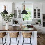 Kitchen, Wooden Floor, White Cabinet, White Subway Backsplash Tiles, Marble Top, White Island, Wooden Top, Rattan Stools, Black Pendant