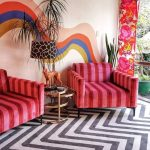 Living Room, Black White Zigzag Rug, White Wall, Colorful Line On The Wall, Pink Red Striped Chairs, Flower Curtain