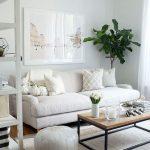 Living Room, Wooden Floor, White Sofa, White Ottoman, Wooden Coffee Table, White Wooden Shelves, White Wall, Brown Rug