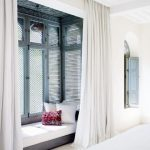 Low Window Nook, White Floor, White Curtain, Tall Wooden Window, White Cushion, White Pillows