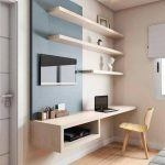 Minimalist Study, Wooden Floor, White Wall, Floating Shelves, Floating Desk, Wooden Chair, Blue Accent Wall