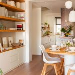 Open Itchen, Wooden Floor, White Wall, White Cabinet, Open Shelves, Wooden Dining Set, White Modern Chair, White Pendants