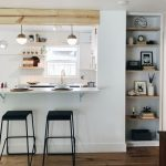 Open Kitchen, Wooden Floor, White Wall, White Tiny Backsplash Tiles, Open Shelves, White Pendant, White Top Island, Built In Shelves
