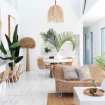 Open Living Room, White Wooden Floor, Rattan Rug, Rattan Sofa, White Wall, Rattan Pendant