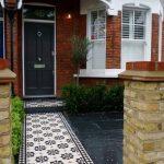 Pathway, Black Floor Tiles, Black White Patterned Floor Tiles, Orange Open Wall