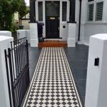 Pathway, Black Tiles, Black White Checkered Tiles On Pathway, White Wall, Black Wooden Arch