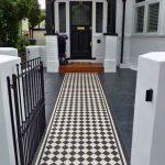 Pathway, Black Tiles, Black White Checkered Tiles On Pathway, White Wall, Black Wooden Arch