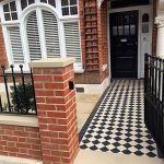 Pathway, Black White Checkered Pathway, Orange Open Wall, White Window, Black Door