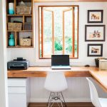 Small Corner Study, Wooden Floor, White Wall, Wooden Shelves, Glass Window, White Modern Chairs,