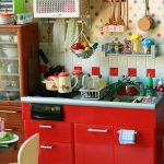 Small Kitchen, Wooden Floor, Red Bottom Cabinet, White Red Backsplash Tiles, Polkadot Pattern Wall, Wooden Cupboard