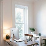 Small Study, Wooden Table, Wooden Chair, White Wall, White Low Shelves