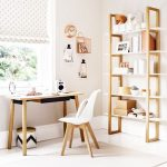 Study, White Floor, White Wall, Wooden Table, White Modern Chair, Wooden Shelves, Window, Polka Dot Curtain