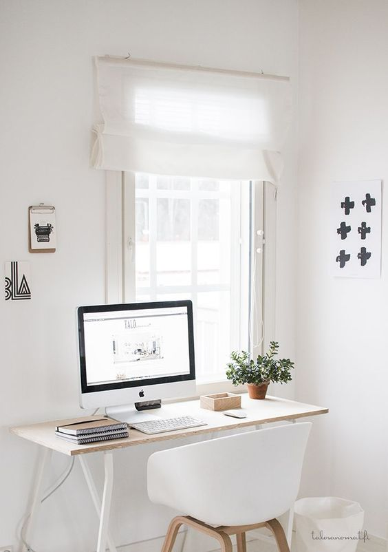 study, white wall, white floor, wooden table, white modern chair, window