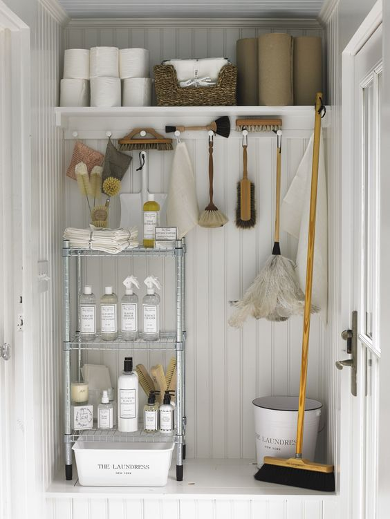 white wooden  cupboard, metal shelves, wooden shelves