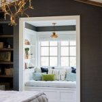 Window Nook, Wooden Floor, Grey Wall, White Shelves Inside, Golden Pendant