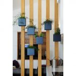 Wooden Bars, Blue Square Pots