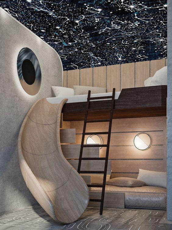 wooden bunk bed, low bed at the bottom, dark wooden platform on top, wooden slide, patterned floor