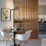 Wooden Grid In The Kitchen, White Modern Dining Set, Grey Floor, White Pendant
