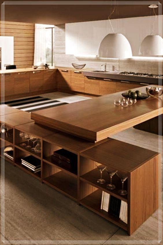 wooden kitchen island, wooden shelves, wooden cabinet, wooden top, wooden table, white pendants, wooden plank wall