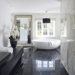Bathroom, Black Marble Floor Tiles, White Marble Wall, White Round Tub, Black Vanity