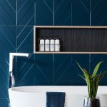 Bathroom, Blue Arrow Patterned Wall Tiles, White Tub, Indented Shelves