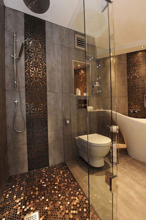bathroom, brown marble floor, grey wall tiles, tiny golden floor hexagonal tiles, dark golden accent