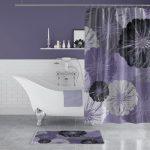 Bathroom, Grey Floor Tiles, White Wall Tiles, Purple Wall, White Floating Shelves, White Tub, Purple Curtain