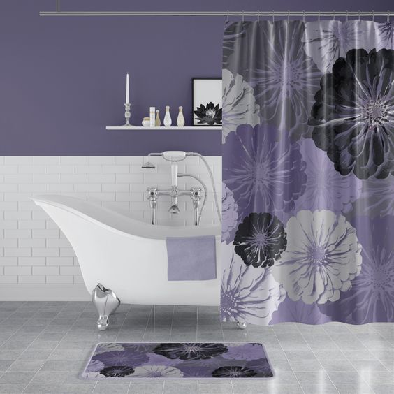 bathroom, grey floor tiles, white wall tiles, purple wall, white floating shelves, white tub, purple curtain