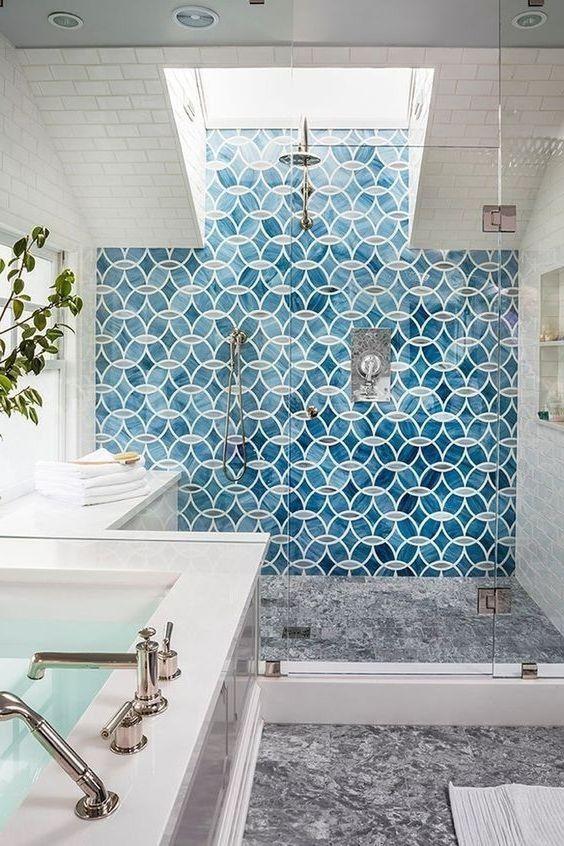bathroom, grey floor, white wall tiles, glass window ceiling, white sink