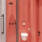 Bathroom, Pink Wall, White Floating Toilet, Glass Partition, Black Whtie Plaid Floor Tiles