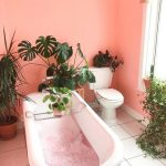 Bathroom, Pink Wall, White Tub, White Floor Tiles, White Toilet