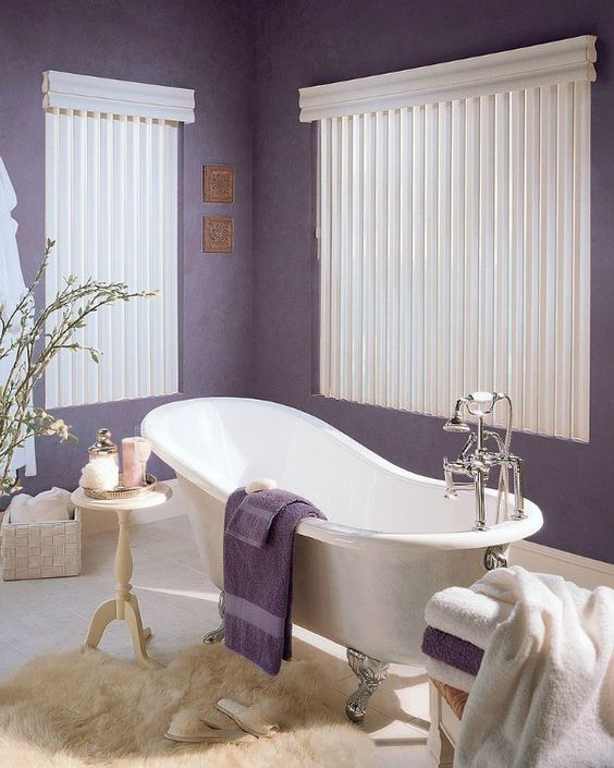 bathroom, purple wall, white curtain, white tub, white rug