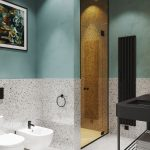 Bathroom, Terazzo Wall, Mint Green Wall, Terazzo Tiles, White Ceiling