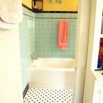Bathroom, Tiny Black And White Floor Tiles, Green Wall Tiles, White Tub, Yellow Wall