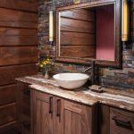 Bathroom Vanity, Grey Floor Tiles, Wooden Wall Planks, Wooden Accent Wall, Mirror, Wooden Vanity Cabinet, Wooden Counter Top