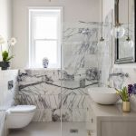 Bathroom, White Floor, White Marble Wall, White Wall, Purple Ceiling, Star Pendant, White Cabinet, Glass Pendant, Mirror