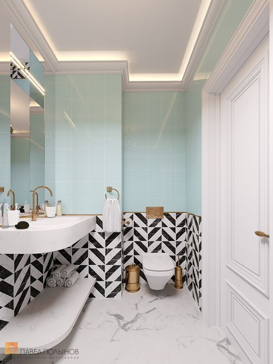 bathroom, white marble floor tiles, blue wall tiles, black white wall tiles, white floating sink vanity, white floating shelves, LED lamps on the ceiling, large mirror