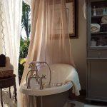 Bathroom, White Rug, Grey Cupboard, Pink Curtain, Grey Tub With White Inside