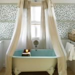 Bathroom, White Wall, Patterned Wall, White Tub With Light Blue Inside, Claw Foot, White Curtain On Round Rod, Wooden Floor
