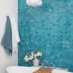 Bathroom, White Wall, White Tub, Blue Scales Wall Tiles,