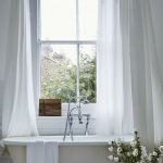 Bathroom, White Wooden Floor, White Wall, White Tall Tub Curtain, White Tub