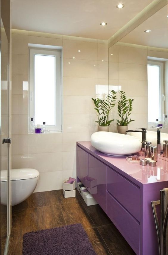 bathroom, wooden floor, white wall, purple wooden cabinet, large mirror