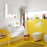 Bathroom, Yellow Tiny Swuare Floor Tiles, White Wall, White Floating Cabinet, Square Mirror, Glass Pendant With Yellow Rod, Yellow Wall Tiles, White Toilet