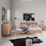 Bedroom, White Wooden Floor, White Wall, Wooden Bed Platform, Light Colored Wooden Cabinet And Side Table, Dark Animal Rug, Grey Floor Lamp
