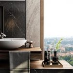Black Marbel Vanity With Wooden Counter Top, Tall Mirror, White Bowl Sink
