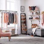 Black Metal Rack, Floating Shelves, Shoes Rack, Grey Rug, Grey Bench, Grey Rug, Pink Tufted Chair,