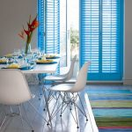 Blue Window Shutters, White Wall, White Wooden Floor, White Dining Table, White Modern Chairs