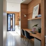 Built In Study, Wooden Material, Floating Shelves, Black Chair, Floating Table, Grey Cabinet, Grey Floor,
