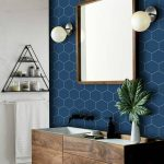 Dark Blue Hexagonal Wall Tiles, Wooden Vanity Cabinet, White Wall