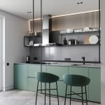 Dining Table On Black Floating Island, Green Cabinet, Green Stools, Grey Wall, Grey Counter Top